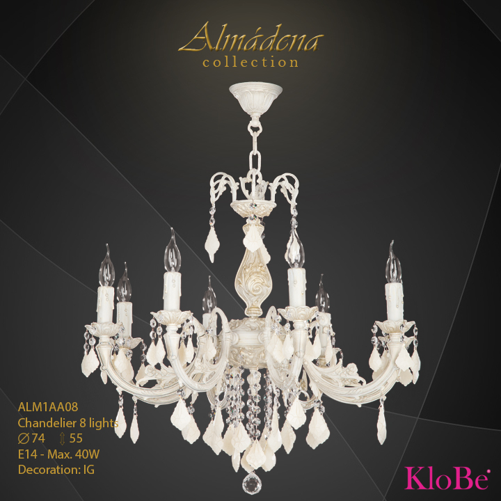 ALM1AA08- Chandelier 8 L  Almadena collection KloBe Classic