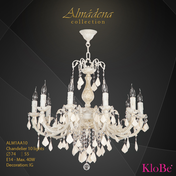 ALM1AA10- Chandelier 10 L  Almadena collection KloBe Classic