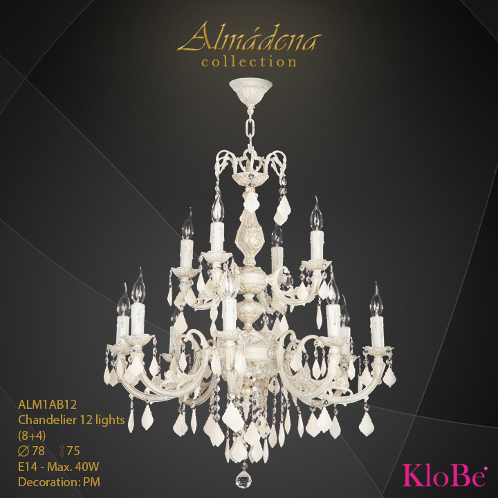 ALM1AB12- Chandelier 12 L  Almadena collection KloBe Classic