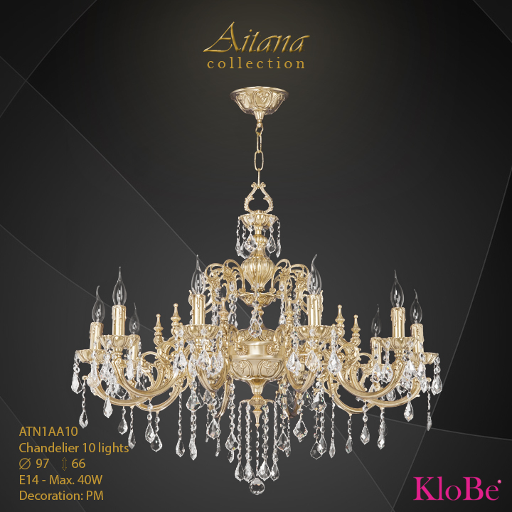 ATN1AA10- Chandelier 10 L  Aitana collection KloBe Classic