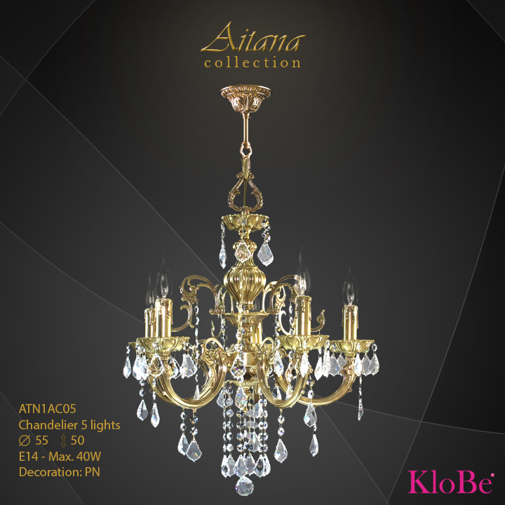 ATN1AC05- Chandelier 5 L  Aitana collection KloBe Classic