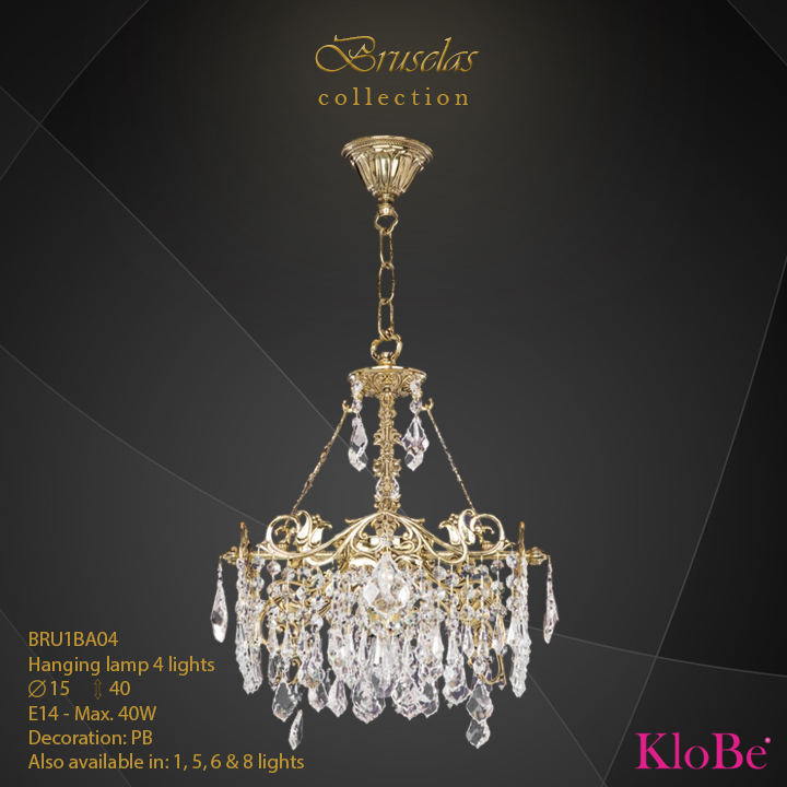 BRU1BA04 - Hanging lamp 4 L  Bruselas collection KloBe Classic