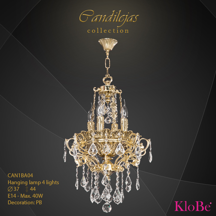 CAN1BA04 - Hanging Lamp 4 L Candilejas collection KloBe Classic
