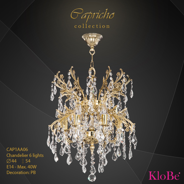 CAP1AA06 - Chandelier 6 L Capricho collection KloBe Classic