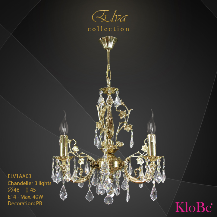 ELV1AA03 - Chandelier 3 L Elva collection KloBe Classic