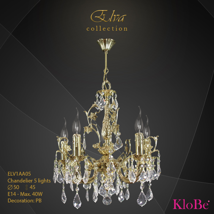 ELV1AA05 - Chandelier 5 L Elva collection KloBe Classic