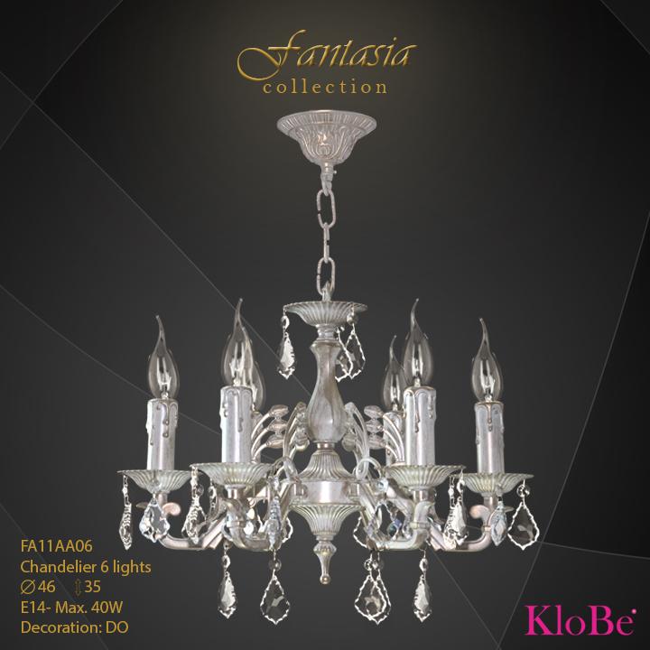 FA11AA06 -CHANDELIER  6L  Fantasia collection KloBe Classic