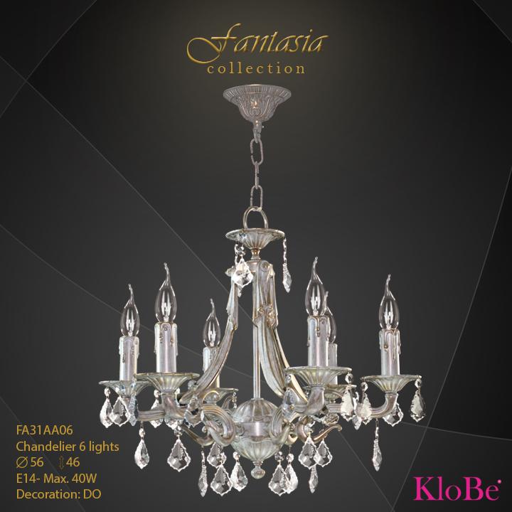 FA31AA06 -CHANDELIER  6L  Fantasia collection KloBe Classic