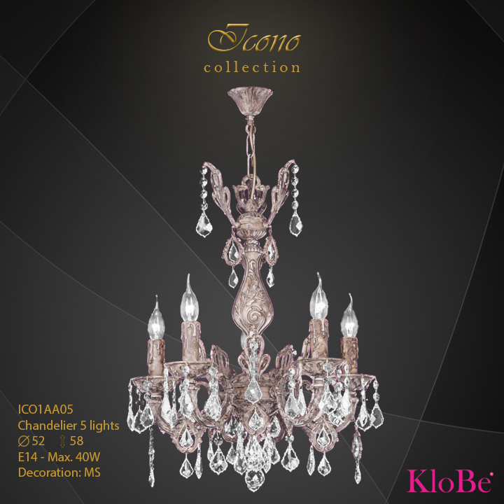 ICO1AA05 - Chandelier 5 L Icono collection KloBe Classic