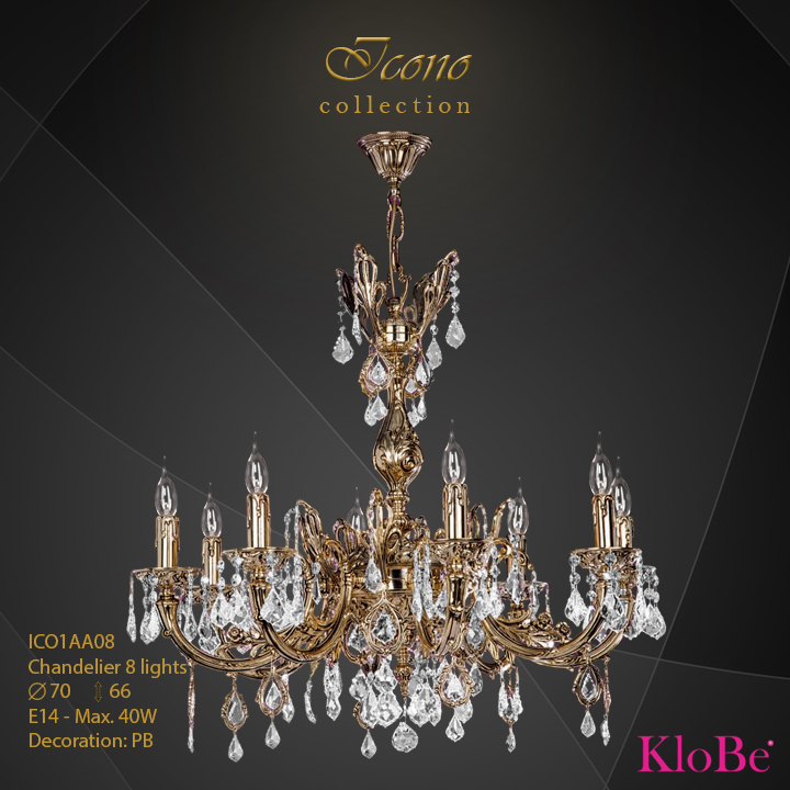 ICO1AA08 - Chandelier 8 L Icono collection KloBe Classic