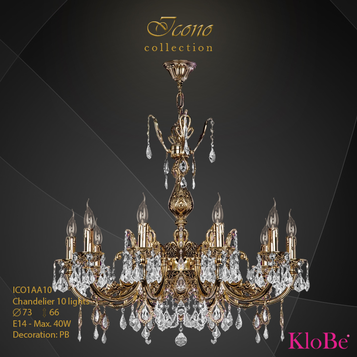 ICO1AA10 - Chandelier 10 L Icono collection KloBe Classic
