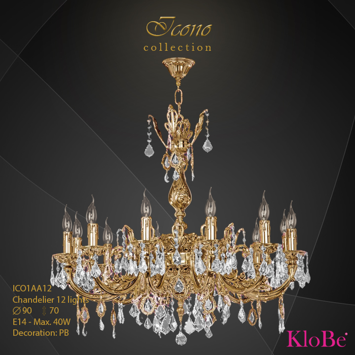 ICO1AA12 - Chandelier 12 L Icono collection KloBe Classic