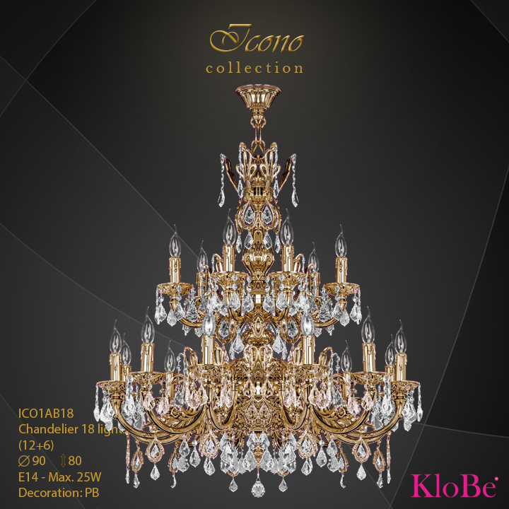 ICO1AB18 - Chandelier 18 L Icono collection KloBe Classic