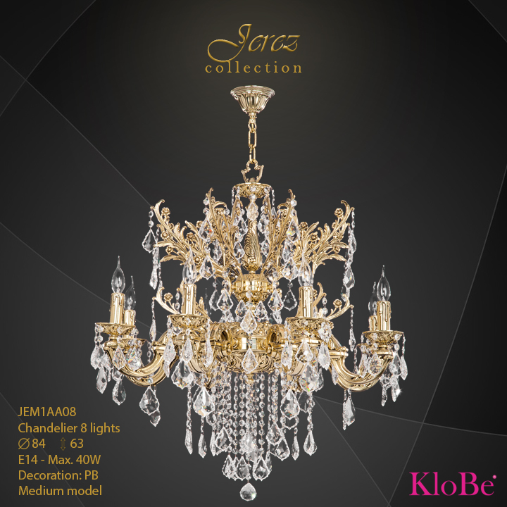 JEM1AA08 - Chandelier 8 L Jerez collection KloBe Classic