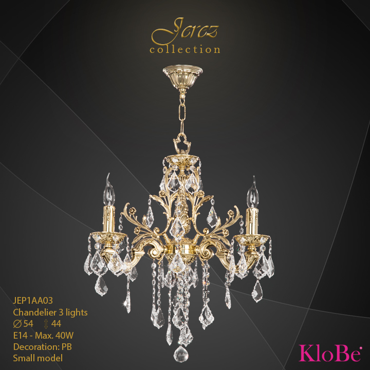 JEP1AA03 - Chandelier 3 L Jerez collection KloBe Classic