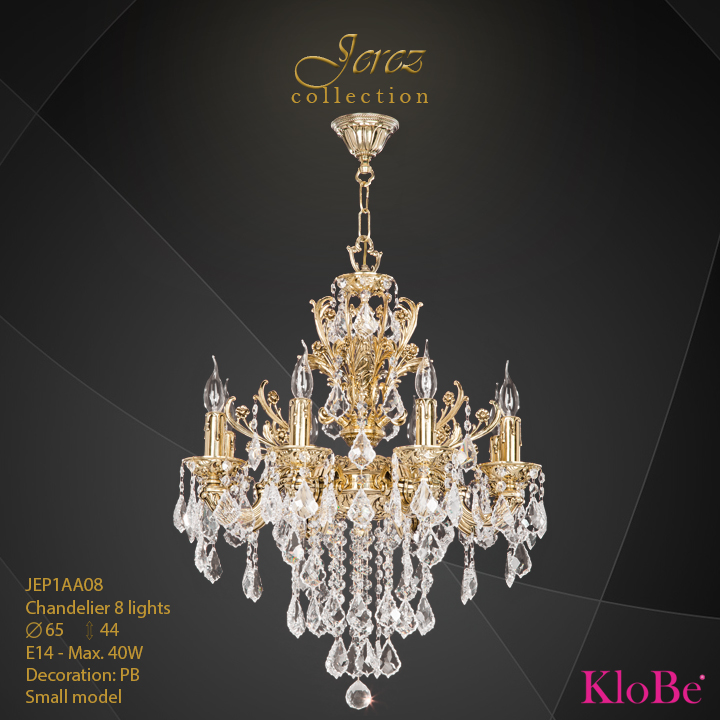 JEP1AA08 - Chandelier 8 L Jerez collection KloBe Classic