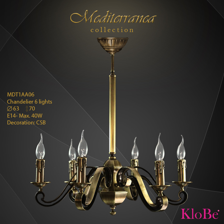 MDT1AA06 (CSB) - CHANDELIER  6L  Mediterranea collection KloBe Classic