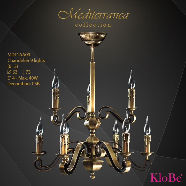 MDT1AA09 (CSB) - CHANDELIER  9L  Mediterranea collection KloBe Classic