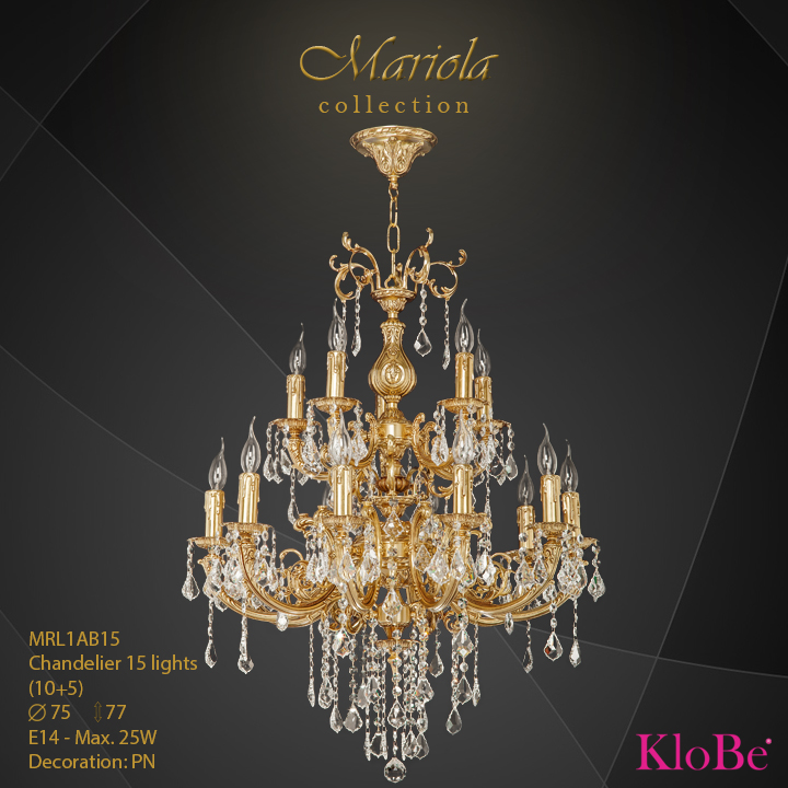 MRL1AB15 -Chandelier 15 L Mariola collection KloBe Classic