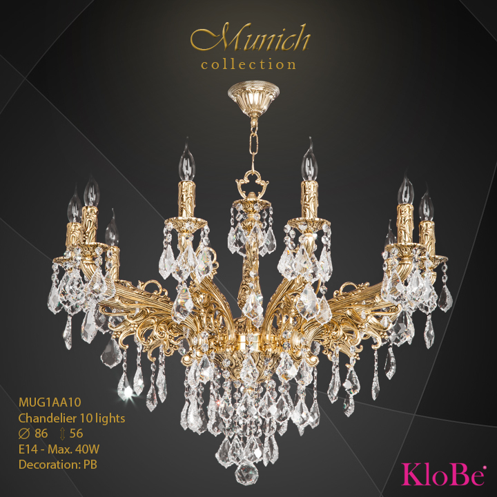 MUG1AA10 - Chandelier 10 L Munich collection KloBe Classic