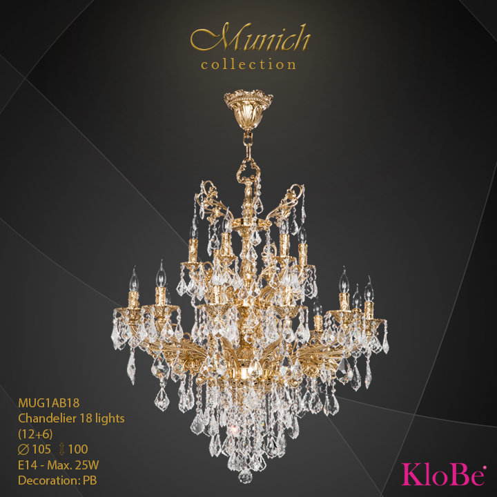 MUG1AB18 - Chandelier 18 L (12+6) Munich collection KloBe Classic