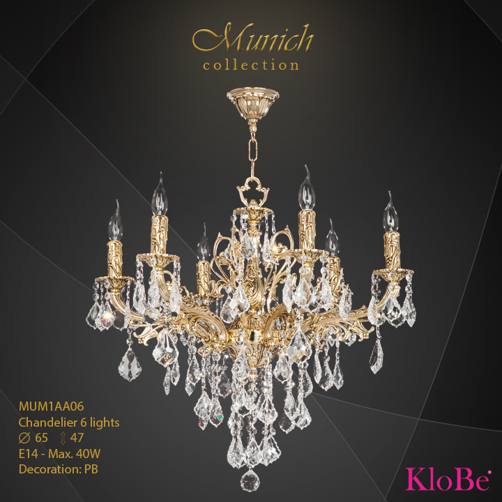 MUM1AA06 - Chandelier 6 L  Munich collection KloBe Classic