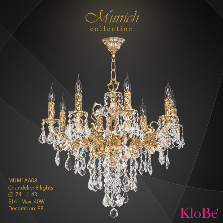 MUM1AA08 - Chandelier 8 L  Munich collection KloBe Classic
