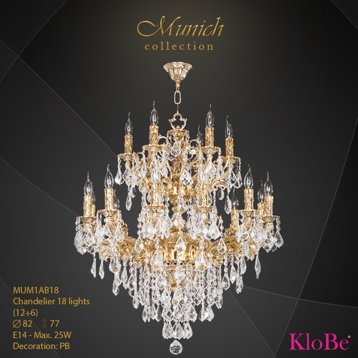 MUM1AB18 - Chandelier 18 L (12+6) Munich collection KloBe Classic