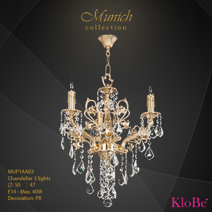 MUP1AA03 - Chandelier 3 L  Munich collection KloBe Classic