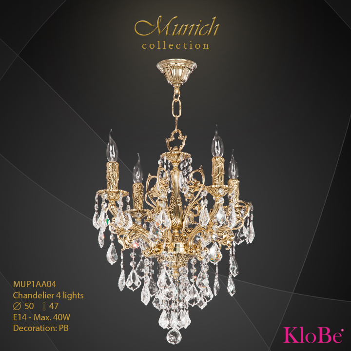 MUP1AA04 - Chandelier 4 L  Munich collection KloBe Classic