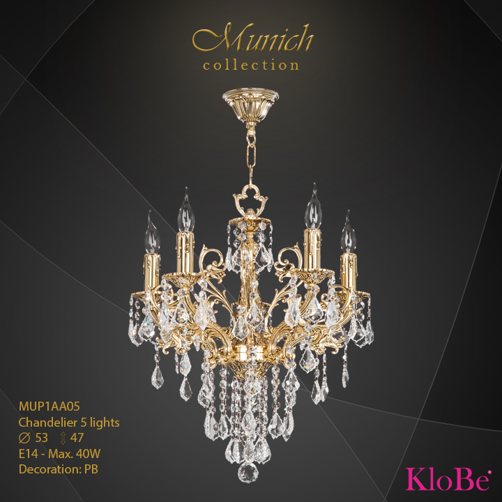 MUP1AA05 - Chandelier 5 L  Munich collection KloBe Classic