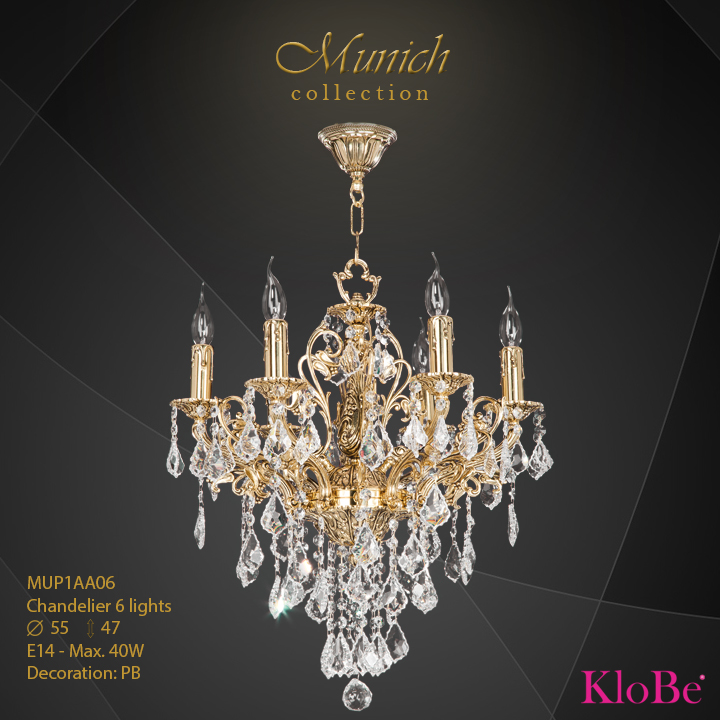 MUP1AA06 - Chandelier 6 L  Munich collection KloBe Classic