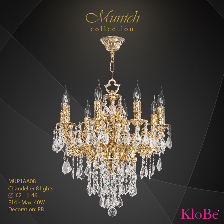 MUP1AA08 - Chandelier 8 L  Munich collection KloBe Classic