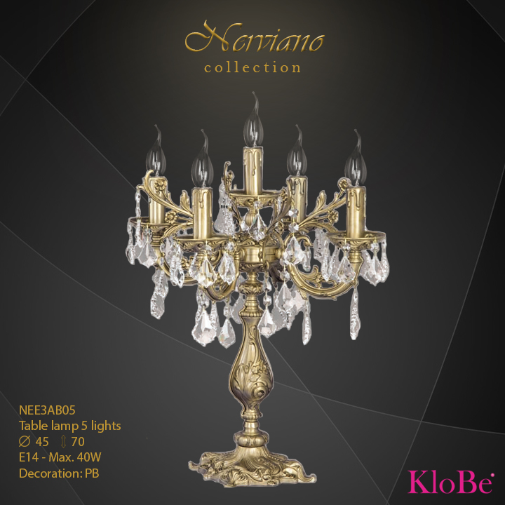 NEE3AB05 - Table Lamp 5 L Nerviano collection KloBe Classic
