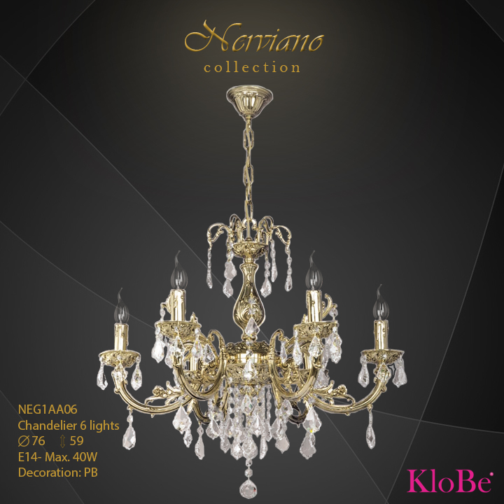 NEG1AA06 - Chandelier 6 L Nerviano collection KloBe Classic