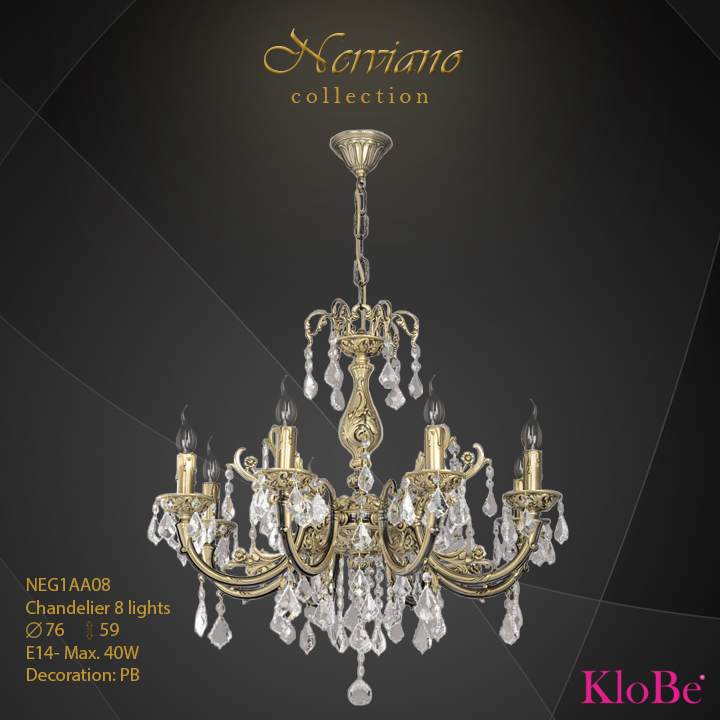 NEG1AA08 - Chandelier 8 L Nerviano collection KloBe Classic