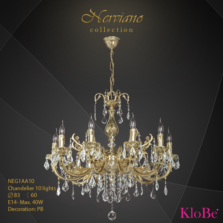 NEG1AA10 - Chandelier 10 L Nerviano collection KloBe Classic