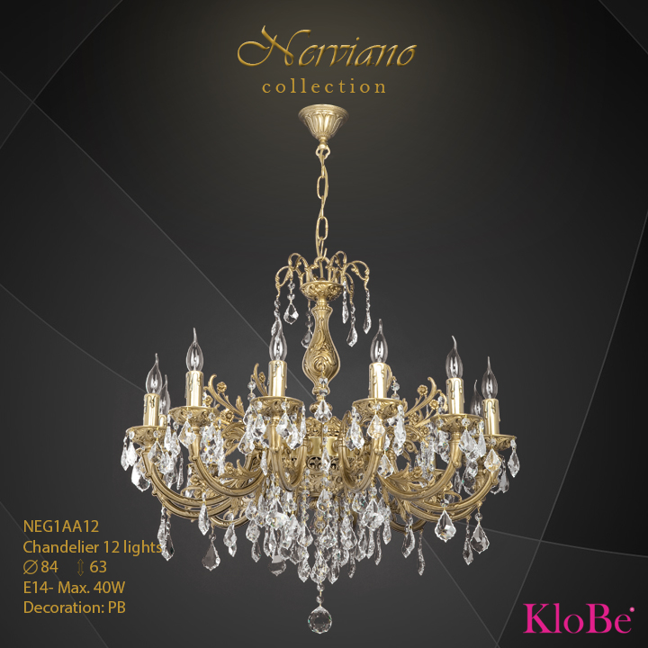 NEG1AA12 - Chandelier 12 L Nerviano collection KloBe Classic