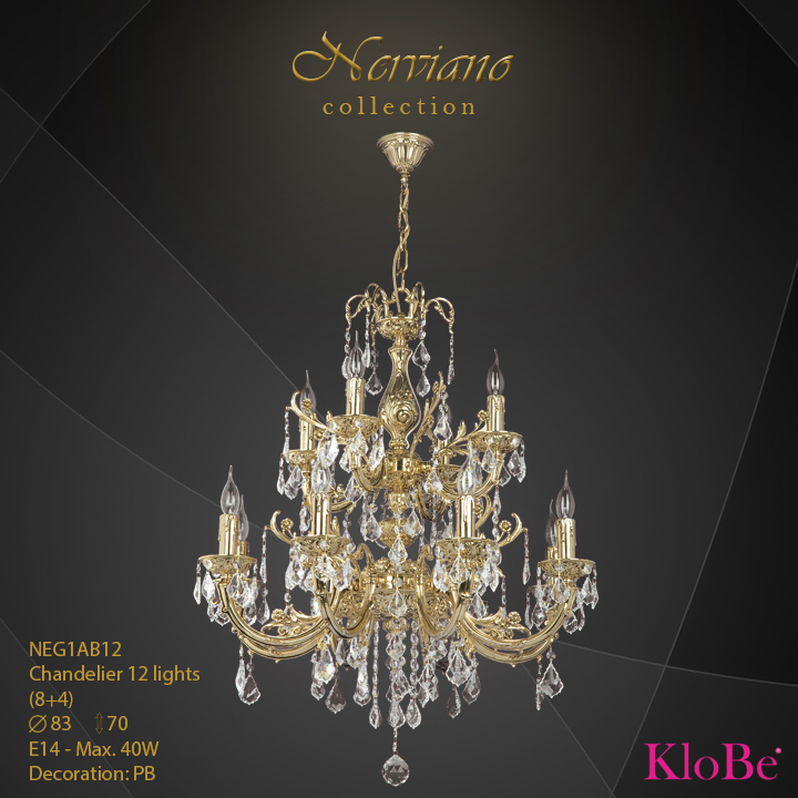 NEG1AB12 - Chandelier 12 L Nerviano collection KloBe Classic
