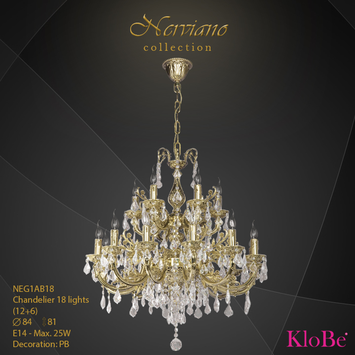 NEG1AB18 - Chandelier 18 L Nerviano collection KloBe Classic