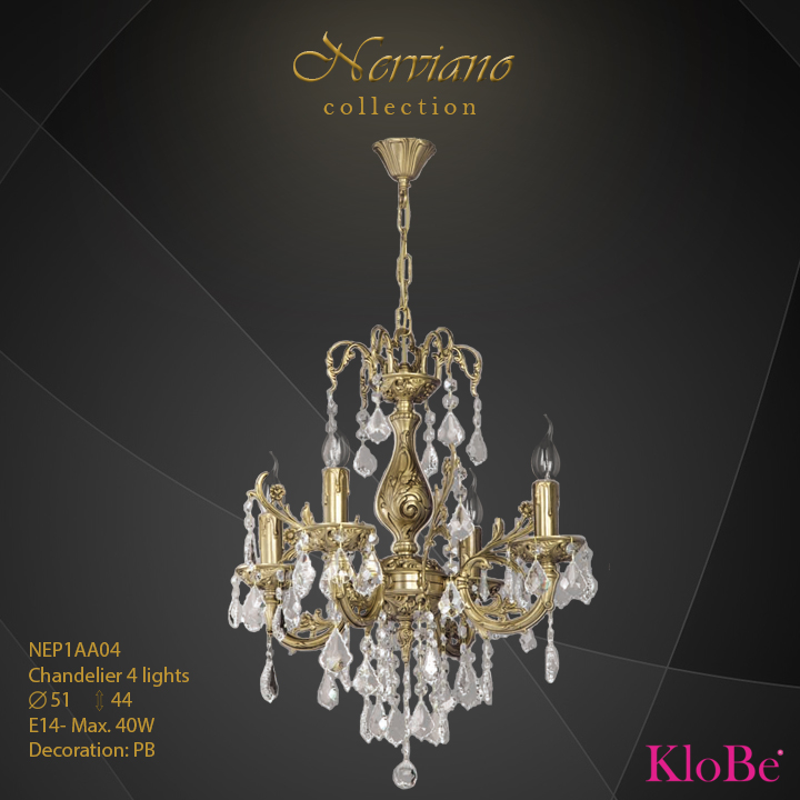 NEP1AA04 - Chandelier 4 L Nerviano collection KloBe Classic