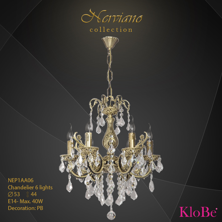 NEP1AA06 - Chandelier 6 L Nerviano collection KloBe Classic