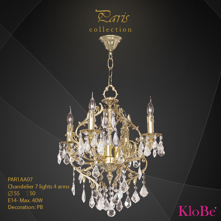 PAR1AA07 - Chandelier 7 L Paris collection KloBe Classic