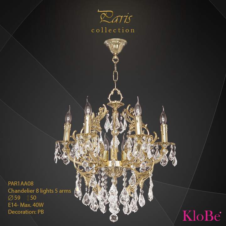 PAR1AA08 - Chandelier 8 L Paris collection KloBe Classic