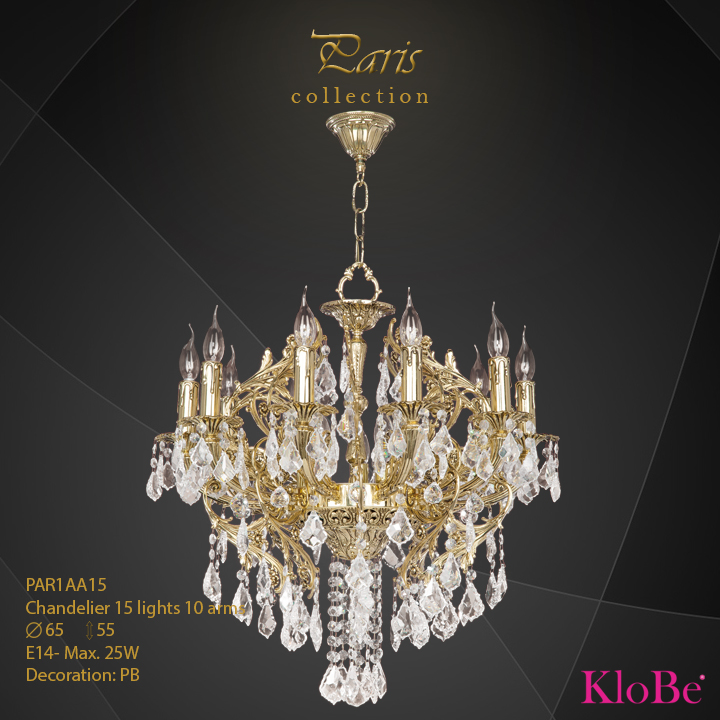 PAR1AA15 - Chandelier 15 L Paris collection KloBe Classic