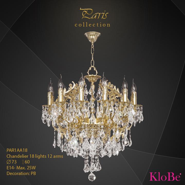 PAR1AA18 - Chandelier 18 L Paris collection KloBe Classic