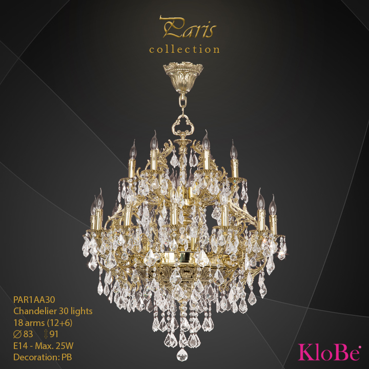 PAR1AA30 - Chandelier 30 L Paris collection KloBe Classic