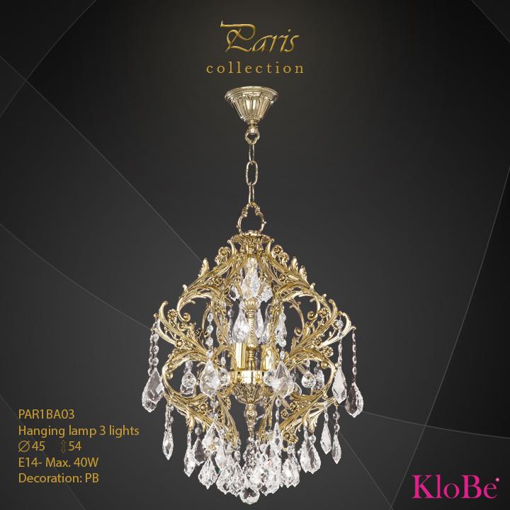 PAR1BA03 - Hanging lamp 3 L Paris collection KloBe Classic