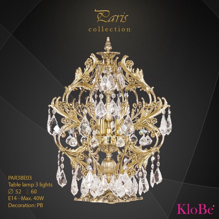 PAR3BE03 - Table lamp 3 L Paris collection KloBe Classic