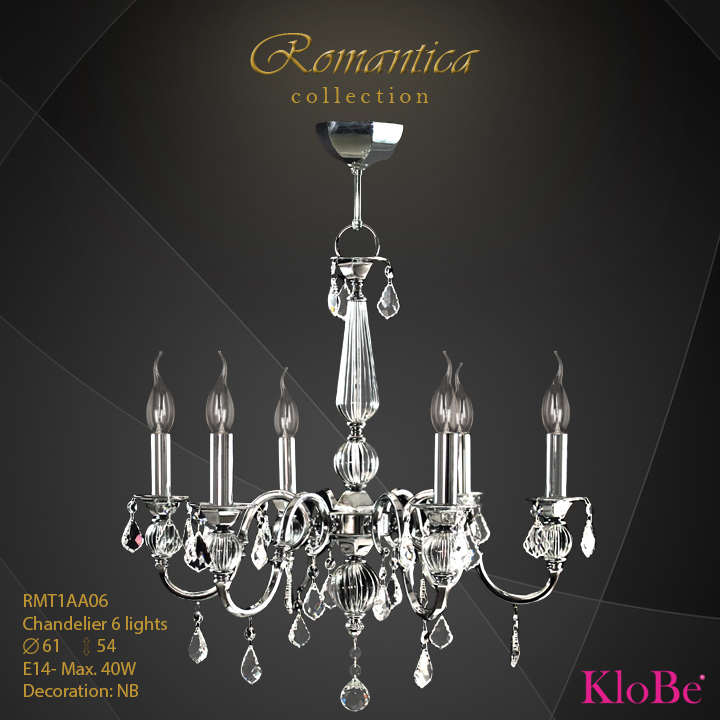 RMT1AA06 (NB) - CHANDELIER  6L  Romantica collection KloBe Classic